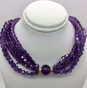 Amethyst 18K Gold Diamond Clasp Necklace