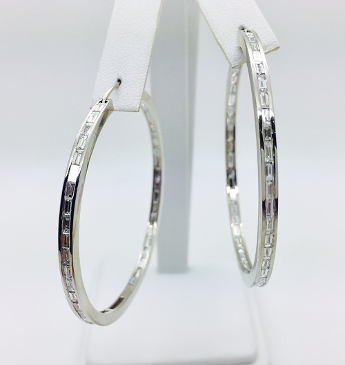 Diamond 14K Gold Large Hoop Earrings