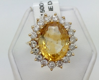 Citrine and Diamond 14K Gold Ring
